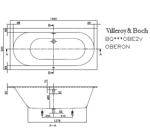 Details zu VILLEROY&BOCH BADEWANNE OBERON RECHTECKWANNE 1900x900