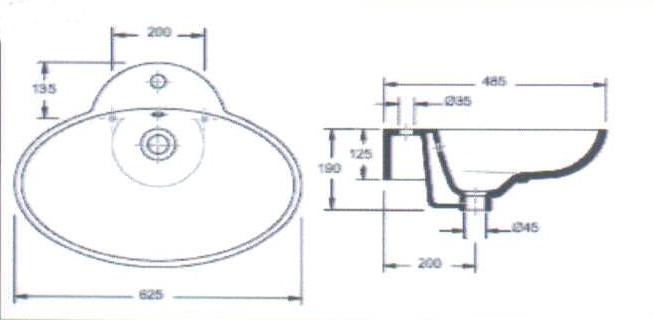 aufsatzwaschtisch oval aufsatzwaschbecken mit hahnloch ebay. Black Bedroom Furniture Sets. Home Design Ideas