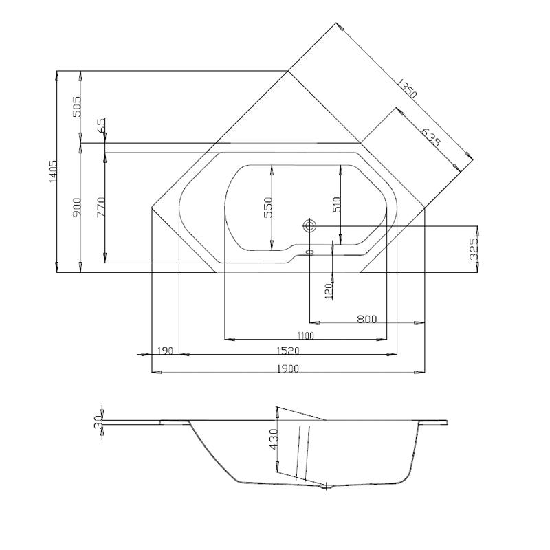 badewanne hoesch arica 6 eck 190 x 90 sechseckwanne weiss. Black Bedroom Furniture Sets. Home Design Ideas
