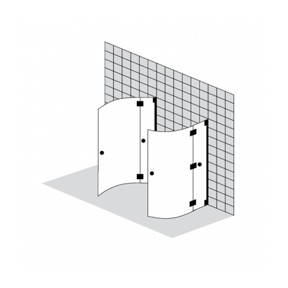 Duschkabine vor der Wand