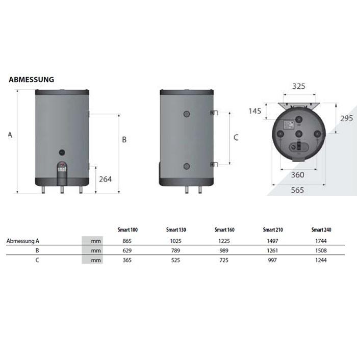 ACV Edelstahlspeicher Smart Line SL 160, mit Isolierung 50 mm PU grauweiß