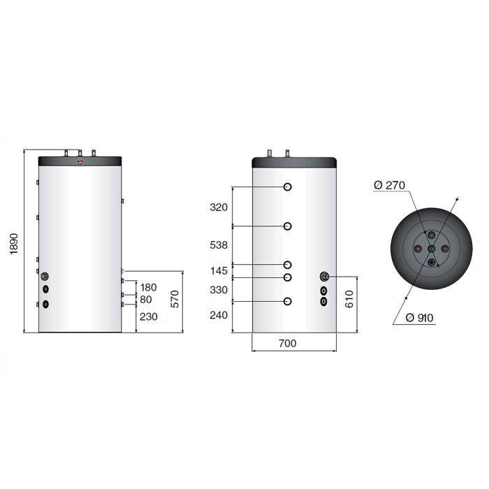 ACV Speicher Smart Line Multi Energy SLME 600, 100 mm Weichschaumisolierung