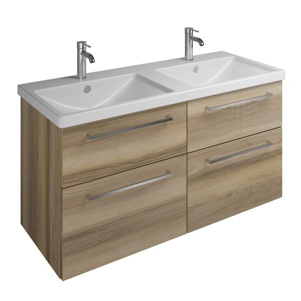 Burgbad Eqio Keramik-Doppelwaschtisch+Waschtischunterschrank 1230 mm