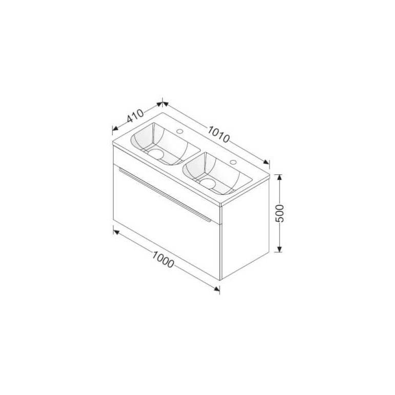 Burgbad kama Chiaro MG- Waschtisch + WT- Unterschrank 100 MG- Waschtisch + WT- Unterschrank 100