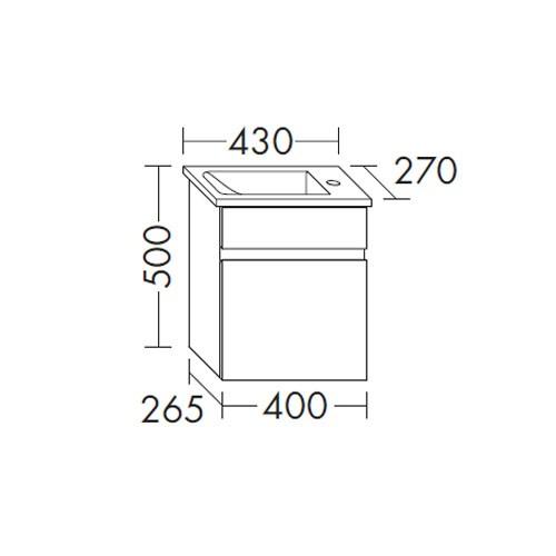 Burgbad Bel Gästebad Keramik-Waschtisch inkl. Waschtischunterschrank 430 PG4 (SFAA043)