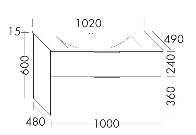 Burgbad Eqio Glas-Waschtisch inkl. Waschtischunterschrank 1020 (SEYX102)