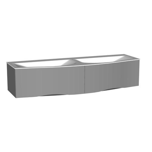 Burgbad Sinea 2.0 Mineralguss-Waschtisch inkl. Waschtischunterschrank mit LED-Griffleistenbeleuchtung 1510 (SFHL151) PG3