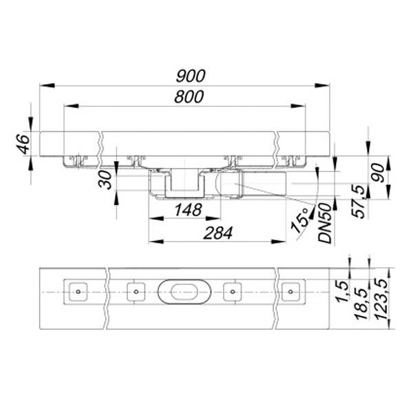 DALLMER Duschrinne CeraLine PLAN W 800 mm, DN 50