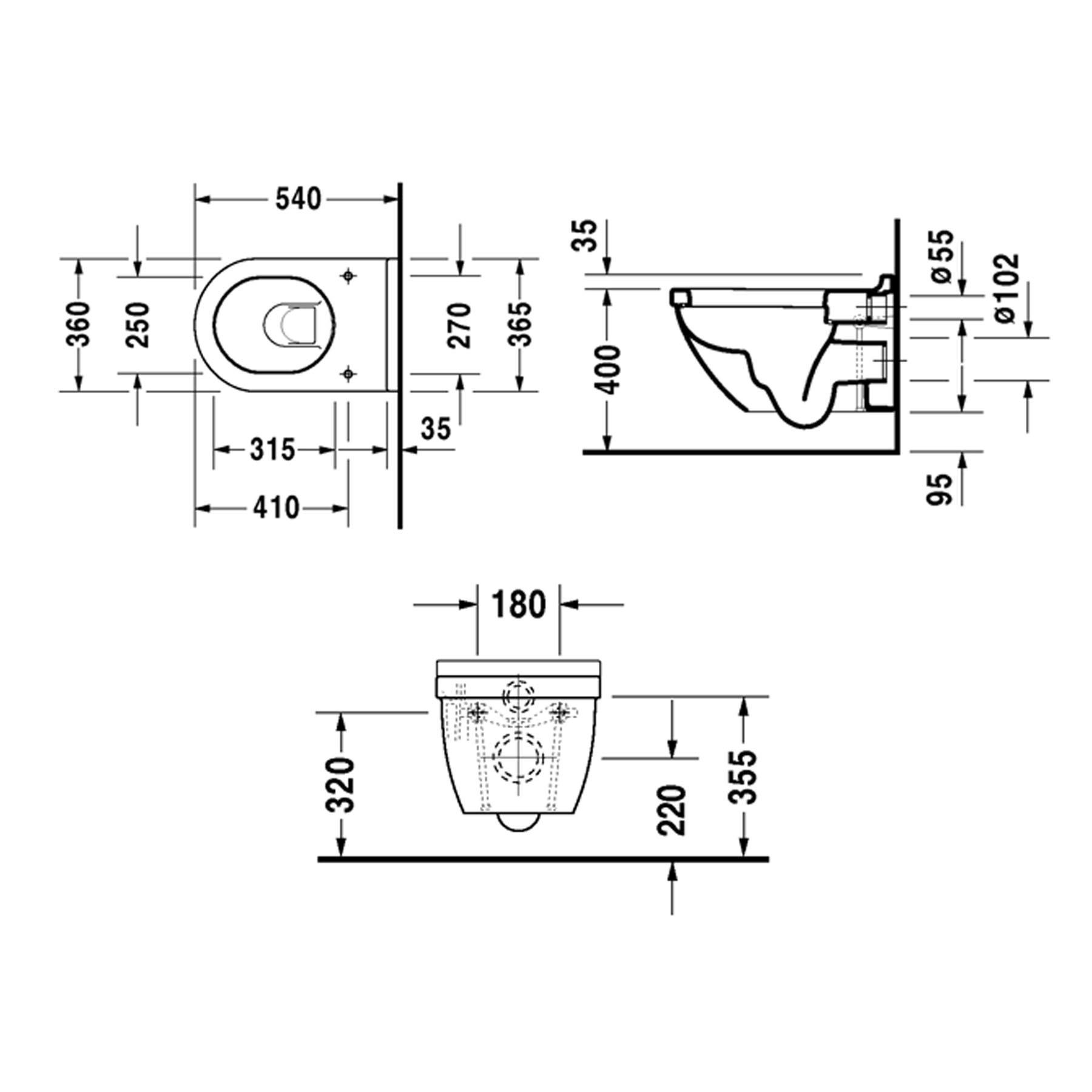 DU WWC-Set Starck 3, Tiefspüler DuraFix weiß, inkl. WC-Sitz mit Absenkautomatik