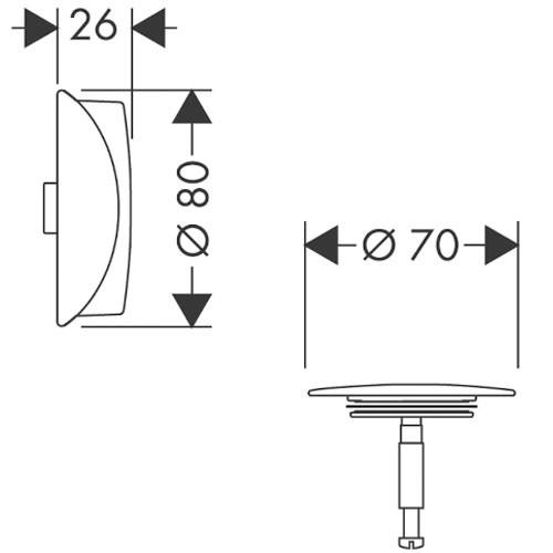 Hansgrohe Ab-u.Überlaufgarnitur Flexaplus F-Set (Griff u.Stopfen) chrom