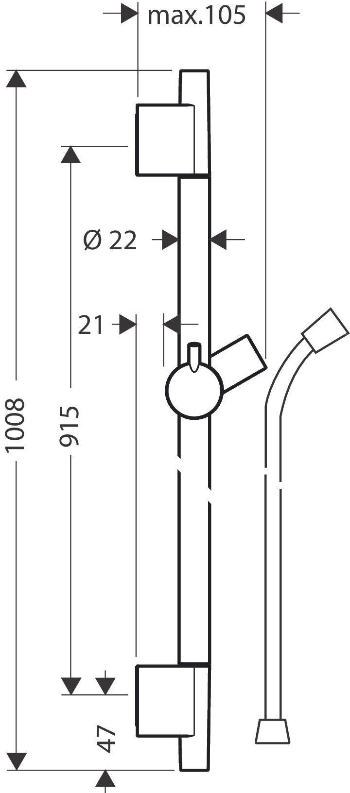 Hansgrohe Talis E Brausenstange Unica'S Puro 900mm chrom
