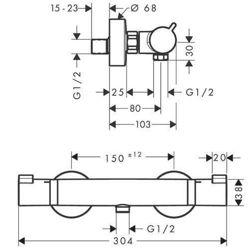 Hansgrohe Thermostat Ecostat Comfort Brausenmischer Aufputz DN15 chrom
