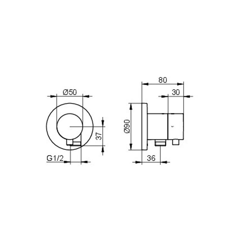 KE 2-Wege Ab-u.Umstellv.IXMO Comf.59557, Schlauchanschluss, rund, Nickel geb.