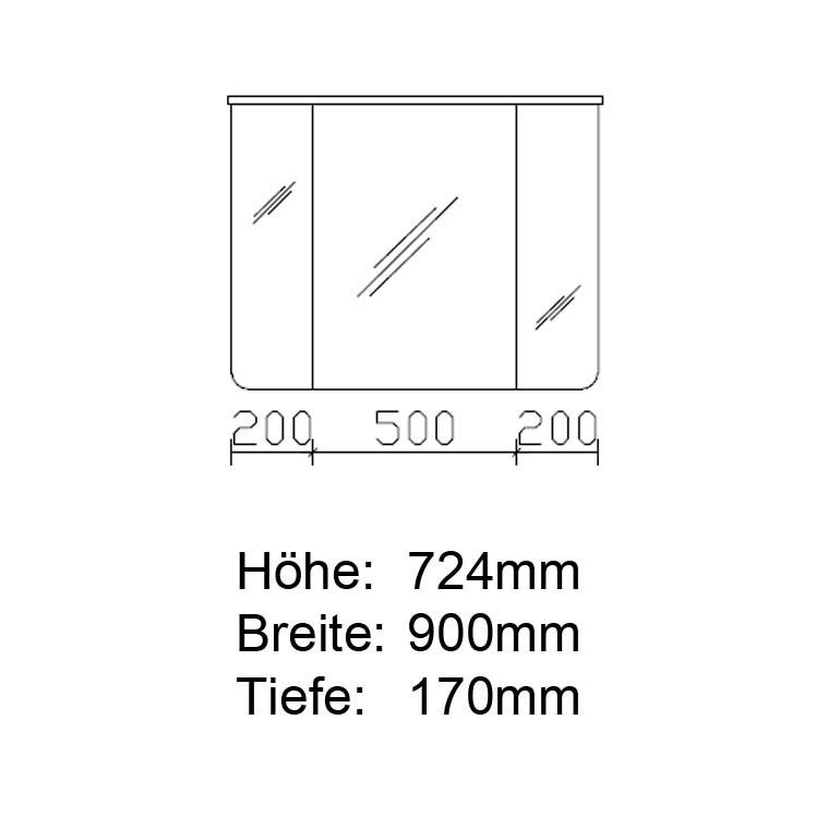 Pelipal Solitaire 6005 Argona Spiegelschrank 900