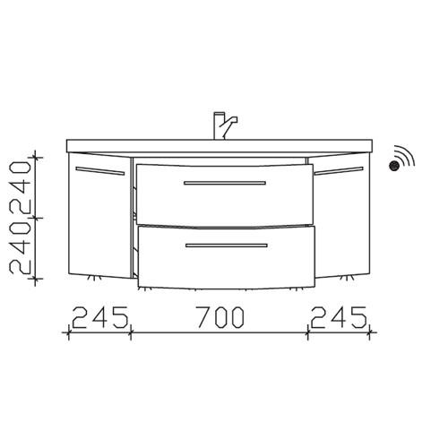 Pelipal Cassca Waschtischunterschrank inkl. LED-Beleuchtung 1190 Basis X
