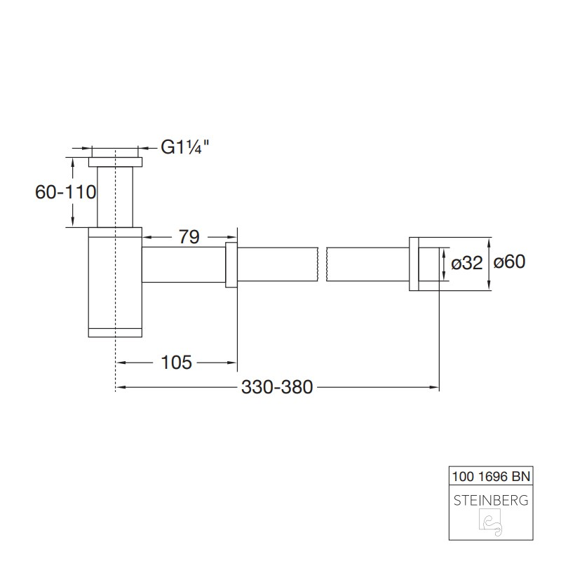 Steinberg Serie 100 Design-Siphon, nickel gebürstet