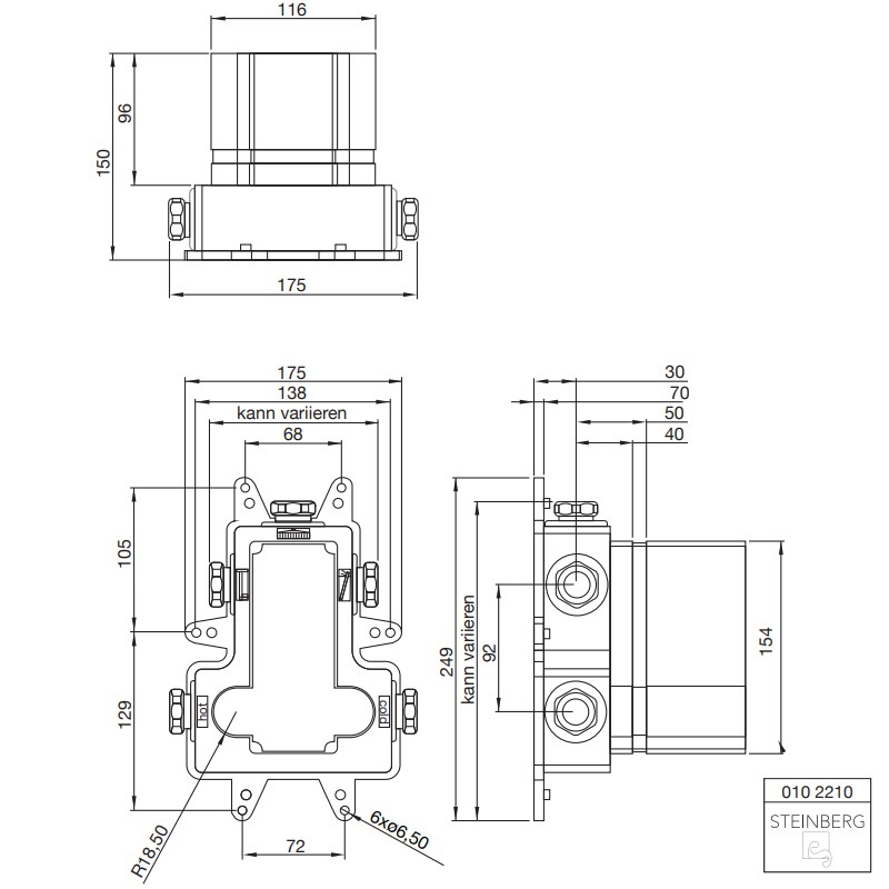 """Steinberg UP Unterputz-Einbaukörper 1/2"""" für Brause- und Einhebelmischbatterien"""