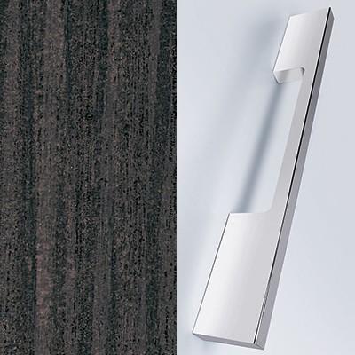 Basaltgrau Matt Melamin mit Laserkante und Stangengriff chrom - M26