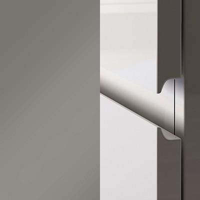 Grau Hochglanz Lack mit lackierter Griffmulde - L28