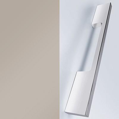 Lichtgrau Hochglanz Lack mit Stangengriff chrom - L26