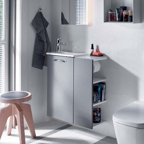 Burgbad Essento Gästebad Keramik-Waschtisch inkl. Waschtischunterschrank 670 PG2 (SFED067)