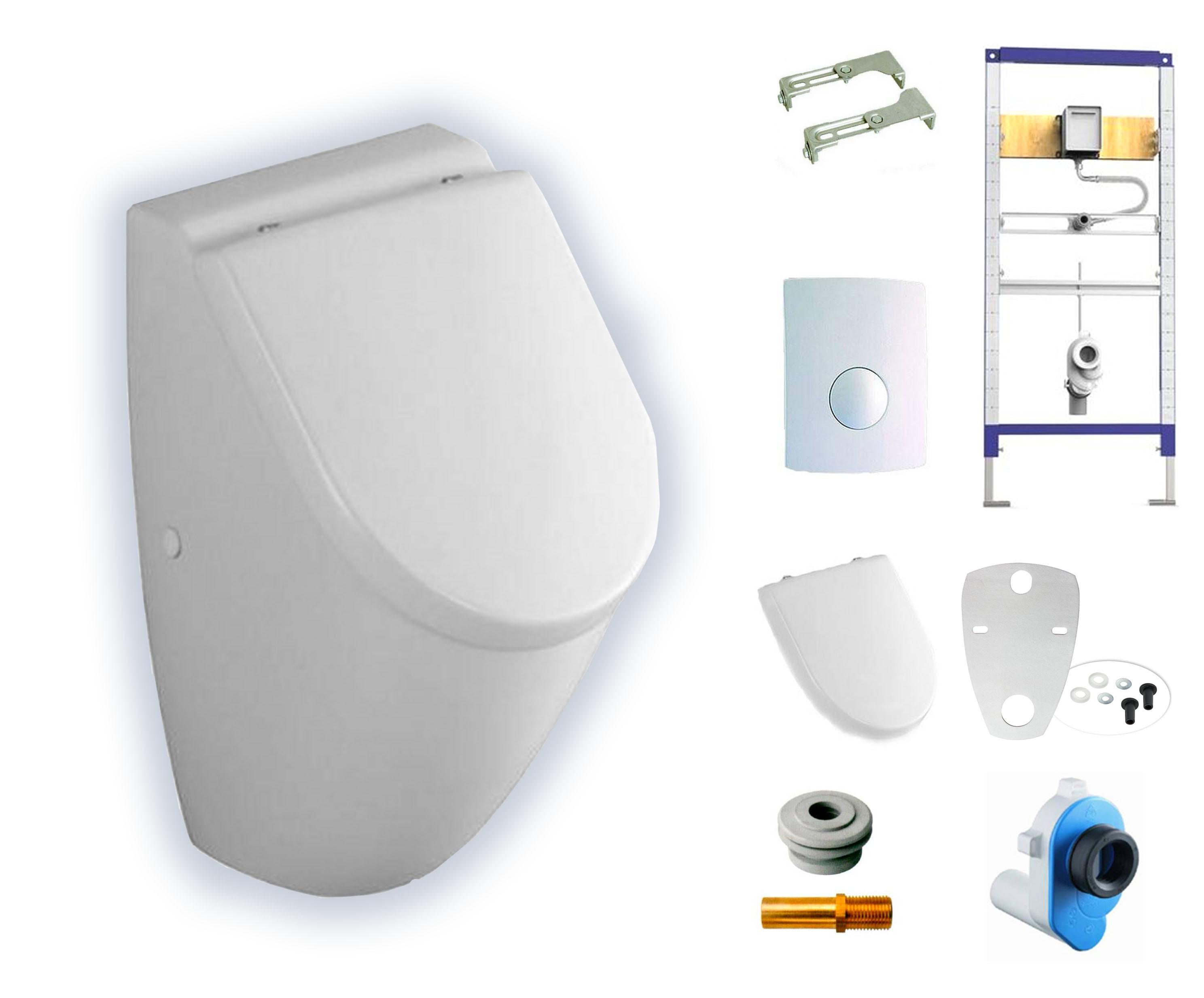 Urinal und Deckel Set Geberit Rohbauset chrom und Zulaufgarnitur Ein