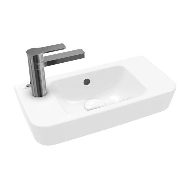 VB Handwaschbecken Compact O.novo 4342L5 500x250mm Eckig Weiß Alpin CeramicPlus