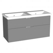 Burgbad Eqio Keramik-Doppelwaschtisch+Waschtischunterschrank inkl. LED-Waschtischunterschrankbeleuchtung