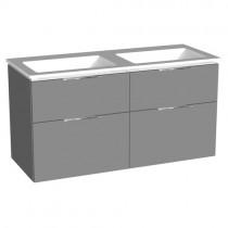 Burgbad Eqio Mineralguss-Doppelwaschtisch+Unterschrank mit LED-Waschtischunterschrankbeleuchtung