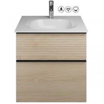 Burgbad Fiumo Set Mineralguss-Waschtisch inkl. Waschtischunterschrank(SFXN062)
