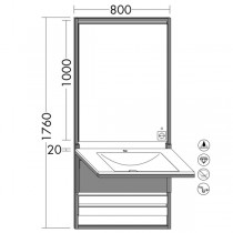 Burgbad Flex Wandmodul inkl. Mineralguss-Waschtisch 800 (SFPJ080)