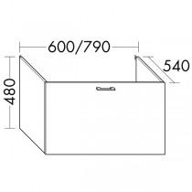 Burgbad Flex Waschtischunterschrank passend zu Wandmodulen SFPI / SFPJ / SFPK / SFPL080 (WVWR079)PG1