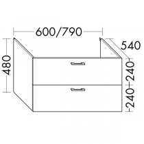 Burgbad Flex Waschtischunterschrank passend zu Wandmodulen SFPI / SFPJ / SFPK / SFPL080 (WVWS079)PG1