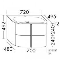 Burgbad Lavo 2.0 Mineralguss-Waschtisch inkl. Waschtischunterschrank(SFZP072)