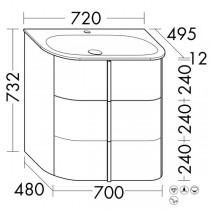 Burgbad Lavo 2.0 Mineralguss-Waschtisch inkl. Waschtischunterschrank(SFZQ072)