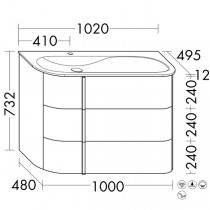 Burgbad Lavo 2.0 Mineralguss-Waschtisch inkl. Waschtischunterschrank(SFZT102)