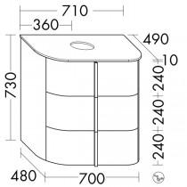 Burgbad Lavo 2.0 Waschtischunterschrank inkl. Konsolenplatte passend zu Aufsatzwaschtisch(SFZW071)