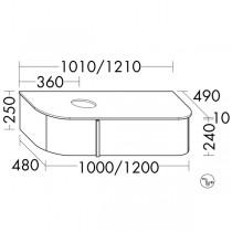 Burgbad Lavo 2.0 Waschtischunterschrank inkl. Konsolenplatte passend zu Aufsatzwaschtisch(SFZX121)
