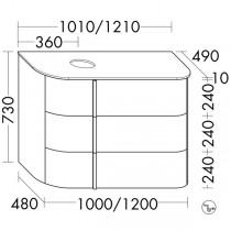 Burgbad Lavo 2.0 Waschtischunterschrank inkl. Konsolenplatte passend zu Aufsatzwaschtisch(SFZZ101)