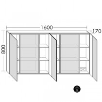 Burgbad rl30 Room Light Spiegelschrank mit indirekter LED-Beleuchtung oben, unten und seitlich(SPLO160)