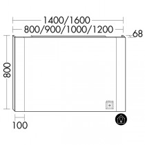 Burgbad rl40 Room Light Spiegel/Leuchtspiegel mit LED-Flächenbeleuchtung und Lichtsteuerung inkl. Deckenbeleuchtung(SIJE140)(Typ-Nr. alt:Sp218)