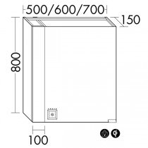 Burgbad rl40 Room Light Spiegelschrank mit LED-Flächenbeleuchtung und Lichtsteuerung inkl. Deckenbeleuchtung(SPOL050)(Typ-Nr. alt: SS256) PG2