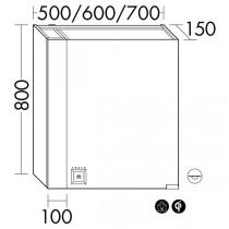 Burgbad rl40 Room Light Spiegelschrank mit LED-Flächenbeleuchtung und Lichtsteuerung inkl. Deckenbeleuchtung(SPOM070)(Typ-Nr. alt: SS266) PG2
