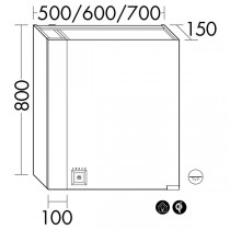 Burgbad rl40 Room Light Spiegelschrank mit LED-Flächenbeleuchtung und Lichtsteuerung inkl. Deckenbeleuchtung(SPOM60)(Typ-Nr. alt: SS266) PG3
