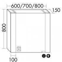 Burgbad rl40 Room Light Spiegelschrank mit LED-Flächenbeleuchtung und Lichtsteuerung inkl. Deckenbeleuchtung(SPON080)(Typ-Nr. alt: SS257) PG1