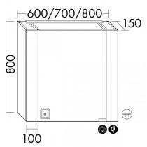 Burgbad rl40 Room Light Spiegelschrank mit LED-Flächenbeleuchtung und Lichtsteuerung inkl. Deckenbeleuchtung(SPOP070)(Typ-Nr. alt: SS267) PG2