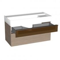 Burgbad Yumo Mineralguss-Waschtisch inkl. Waschtischunterschrank mit Glaselement und LED-Waschtischunterschrankbeleuchtung 1020 PG1 (SFMX102)
