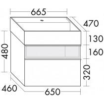 Burgbad Yumo Mineralguss-Waschtisch inkl. Waschtischunterschrank mit Rauchglaselement und LED-Waschtischunterschrankbeleuchtung 670 (SFMX067)