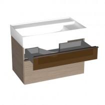 Burgbad Yumo Mineralguss-Waschtisch inkl. Waschtischunterschrank mit Rauchglaselement und LED-Waschtischunterschrankbeleuchtung 820 PG1 (SFMX082)