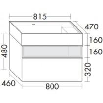 Burgbad Yumo Mineralguss-Waschtisch inkl. Waschtischunterschrank mit Rauchglaselement und LED-Waschtischunterschrankbeleuchtung 820 (SFMX082)